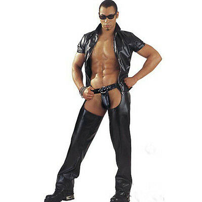 Hot gay adult men sexy costume Faux leather Jumpsuit Erotic Fetish Party Cosplay