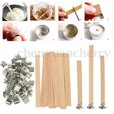 50pcs Wooden Wick Candle Core With Sustainer Tabs DIY Candle Making Supplies