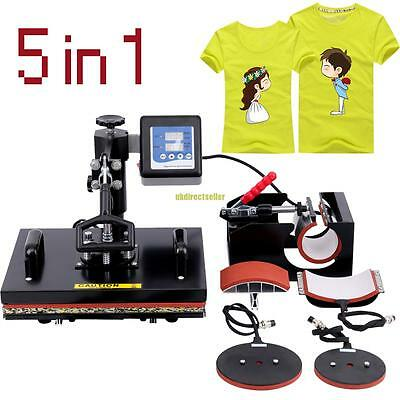 5 in 1 Heat Press Transfer Machine Sublimation Hat T-Shirt Mug Plate Cap 24KG