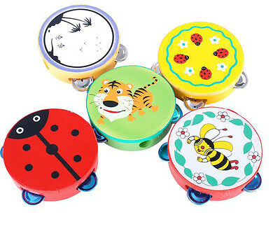 Colorful Musical Toy Baby Kids Cartoon Handbell Clap Drum Tambourine