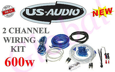 Us2Ch8N 8 Awg Gauge 2-Ch 600W Car Amplifier Wiring Installation Kit Amp - New
