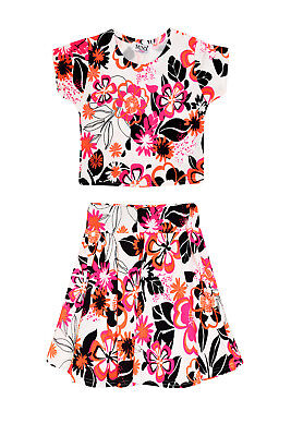 Minx London Girls Designer Neon Pink All Over Floral Print Crop Top And Skirt