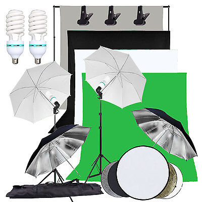 Photo Studio Continuous Lighting Kit Soft Umbrella 4 Backdrop Background Stand