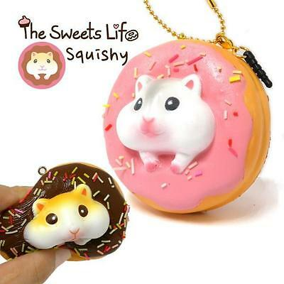 The Sweet Life Squishy Ball Chain Strap Charm (White Hamster Strawberry Donut )