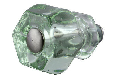 Antique Style Old Coke Bottle Green Glass Knob w/Modern Brushed Nickel- 1-1/2""