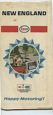 Old 1968 Esso Gas Station Map New England
