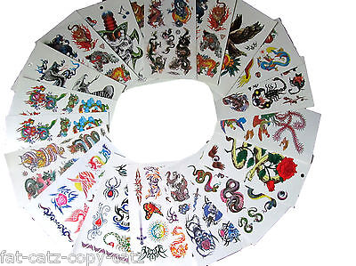 10 or 20 SHEETS BOYS EAGLE DRAGON TIGER SKULLS TEMPORARY TATTOOS PARTY LOOT BAGS