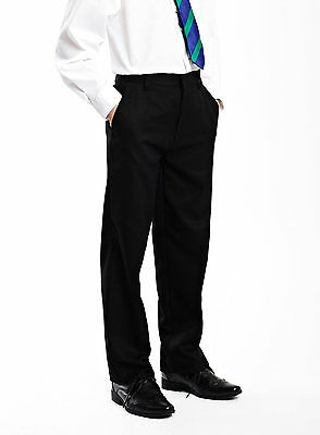 Zeco Boys Waist Adjustable Trousers In Black School Uniform Trouser