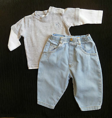 Baby clothes BOY 3-6m outfit Red Bone light blue denim jeans/NEXT grey/white top