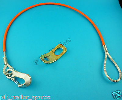 HEAVY DUTY 1 metre Coupling Safety Cable & Fixing Bracket for Unbraked Trailers