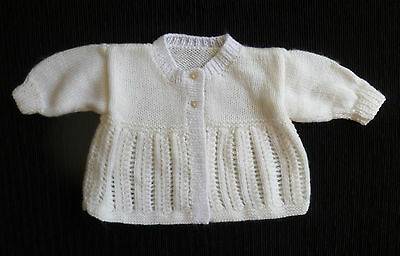 Baby clothes BOY GIRL 609m white/cream super soft handmade cardigan SEE SHOP!