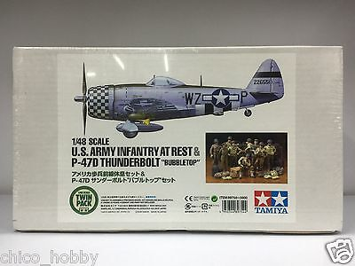 Tamiya 89754 1/48 Scale U.S. Army Infantry At Rest & P-47D Thunderbolt Bubbletop