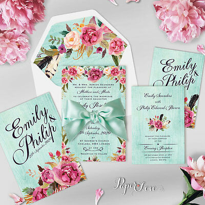 Personalised Wedding Invitations Day Evening Place Card Rustic Free Envelopes