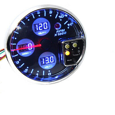 "5"" Digital 4 In 1 Tachometer Water Temp  Volt Voltage Oil Press Pressure Gauge"