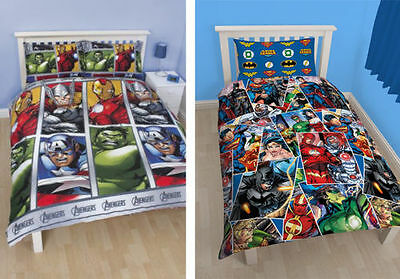 Childrens Avengers Justice League Comic Book Duvet Sets Batman Superman Hulk
