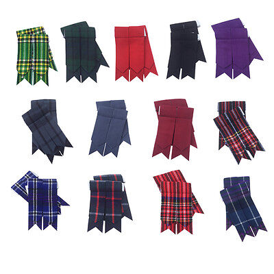 CC Scottish Kilt Sock Flashes various Tartans/Highland Kilt Hose Flashes pointed