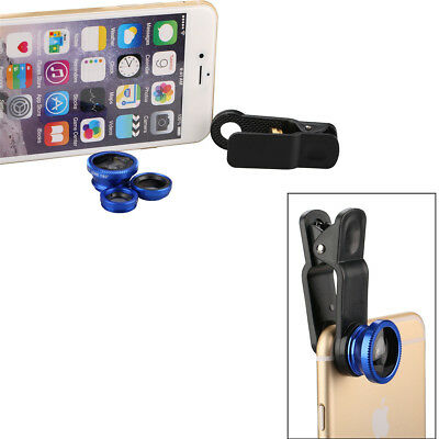 3 in 1 Fish Eye + Wide Angle + Macro Camera Clip-on Lens for Smart Phone US Ship