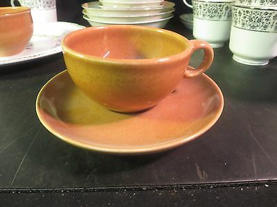 Russel Wright Cup &  Saucers Apricot Iroquois China