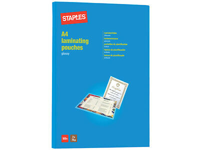 100 A4 2 X 75 / 150 Micron Staples Laminating Glossy Pouches - Free 24 H Courier