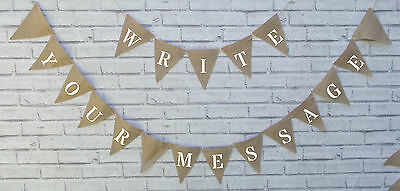 Personalised Hessian fabric Bunting Wedding Baby Shower 50 Pence A Flag