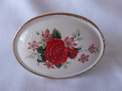 Vintage Szeiler Studio 1960's Pottery Posy Vase with Floral Pattern Red Rose