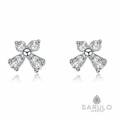 White Bow Stud Earrings Sarulo 925 Sterling Silver Jewelry Fashion Gift Box Lady