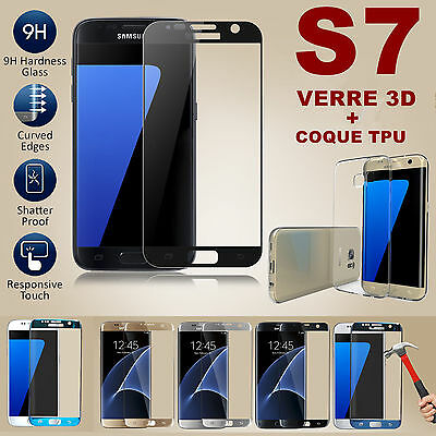 Lot / Film Protection Vitre Verre Trempe Total 3D Samsung Galaxy S7 + Coque Tpu