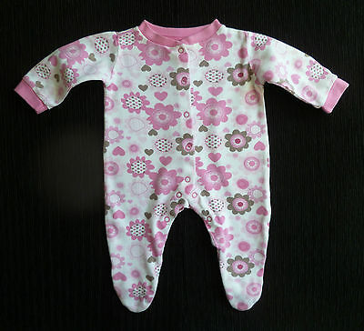 Baby clothes GIRL 0-3m George flowers, white,pink,beige soft babygrow SEE SHOP!
