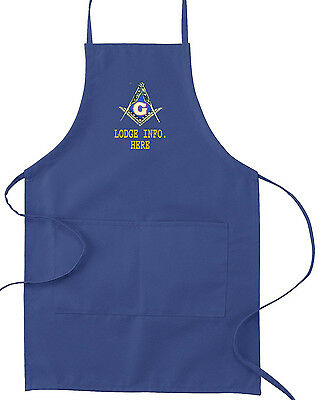 Mason Masonic Apron  Embroidered With Your Lodge Info Below Logo (Free Shipping)