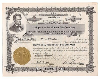 1925 Skippack & Perkiomen Bus Co. Pennsylvania Trolley Stock Certificate No. 6