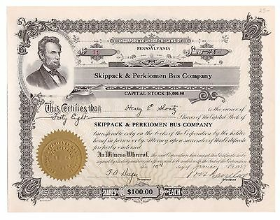 1927 Skippack & Perkiomen Bus Co. Pennsylvania Trolley Stock Certificate No. 11