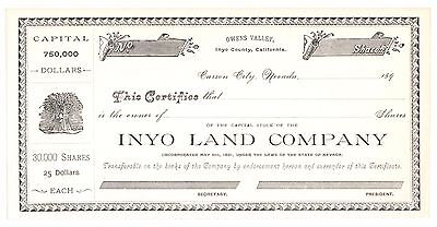 189- Inyo Land Co. Owens Valley California Mining Stock Certificate - Blank