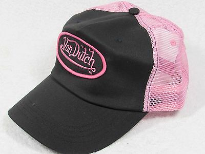 NEW GENUINE Von Dutch Mesh Trucker Biker Snapback Hat Cap Adjustable PINK BLACK