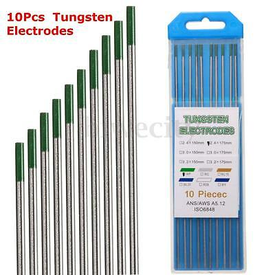 10PCS Thoriated WP Green Tip TIG Welding Tungsten Electrodes 2.4mm x 175mm + Box