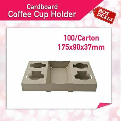 100 Pc Cardboard 4 Coffee Cup Holder Disposable Drink Travel Tray 175x90x37mm