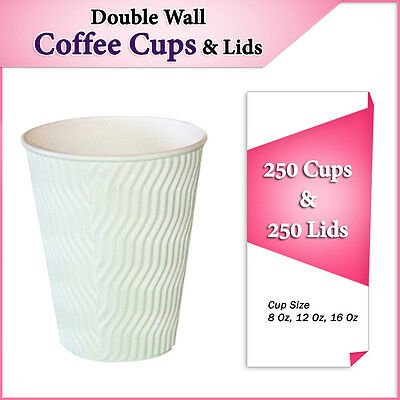 Ripple Wall Disposable Coffee Cups and Lids 250 Cups & 250 Lids Cool Wave White