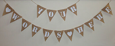 Personalised Hessian fabric Bunting Wedding Celebration Baby 50 PENCE PER FLAG