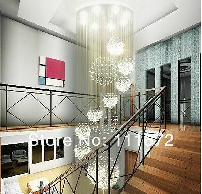 Crystal Ceiling Lamp hang Led light Fixture Curtain Pendant Chandelier hall 3h