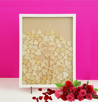 Wooden 100 Hearts Drop Box Rustic Frame Wedding personalised shabby Guestbook