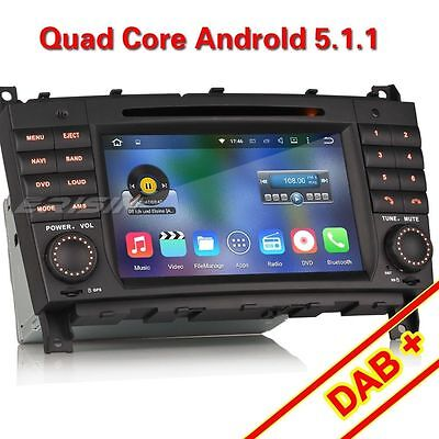 "7"" Car DVD GPS WiFi 3G 4-Core Android 5.1 For Benz C Class W203 CLK W209 ES4508B"