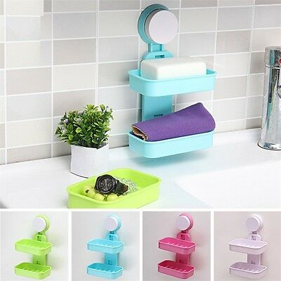 New Strong Suction Wall Soap Holder Bathroom Shower Cup Dish Basket Tray EL