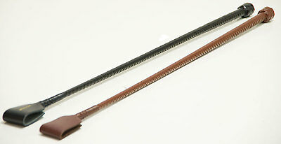 Plaited Leather Whip Brown Black