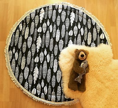 Luxurious Feathers Baby Padded Round Tummy Time Play Mat Roundies Nursery Rug
