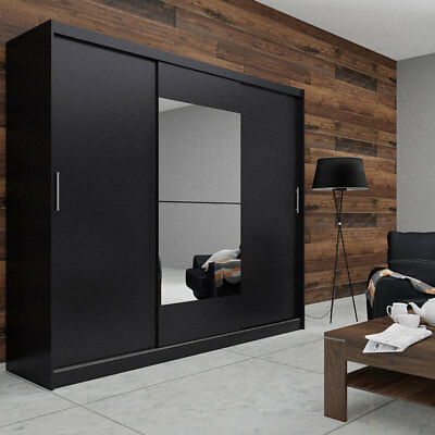 kleiderschrank schrank mit spiegel cliff wei anthrazit 2 trg 90cm neu 235983 eur 129 00. Black Bedroom Furniture Sets. Home Design Ideas