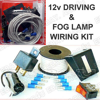 12v Car Driving Fog Lamps Lights Fitting Wiring Kit Wire,Relay,Switch,Connectors