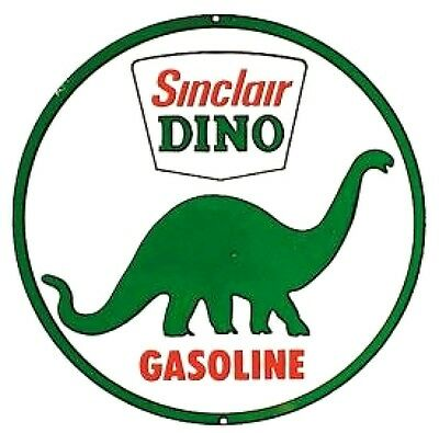 New Sinclair Dino Gasoline Round Retro Vintage Tin Sign