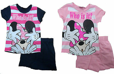 Minnie Mouse Short Pyjamas Short & T-Shirt Character Girls Age 2-8Y Official