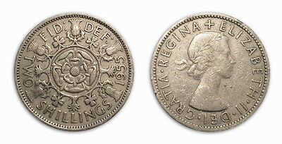 Great Britain Coins 1955 Florin / Two Shilling / 2 Shilling / Circulated