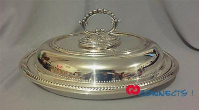 Antique English Silverplate Oval Serving Dish With Cover