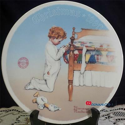 Edwin M Knowles Christmas 1990 Norman Rockwell A Christmas Prayer Plate